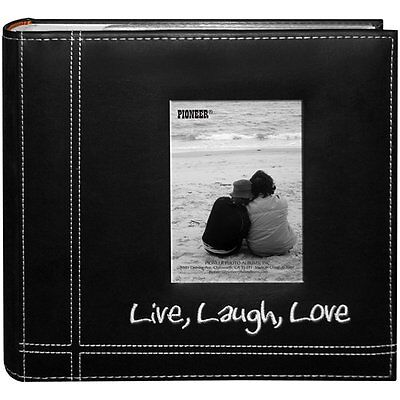 "Photo Album Pioneer 200 Photos 4""x6"" Embroidered Sewn Leatherette Cover Black"