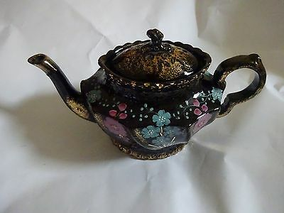 Antique Victorian Hand Painted Floral Black Gold Glazed Ceramic Teapot,No 2316