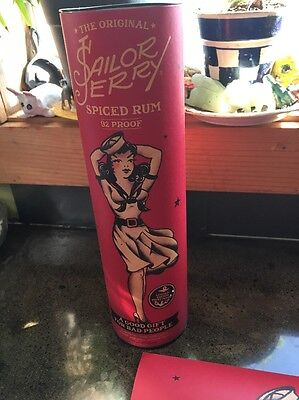 "One ""Phone girl"" Sailor Jerry Rum Red poster and canister. VERY NEAT! No Rum"