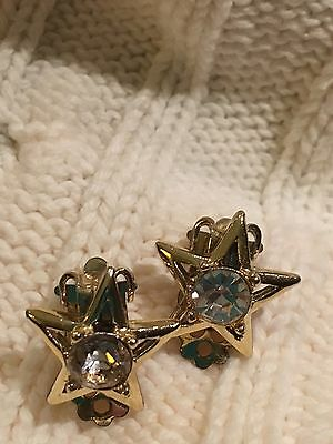 Earrings Clip On Vintage Rhinestone Gold Tone Costume Jewelry 1950S Star Small
