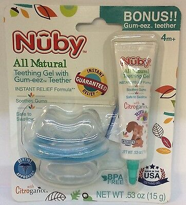 Nuby All Natural Baby Teething gel with gum-eez teether 4m+