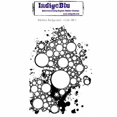 IndigoBlu Bubbles Background A6 Red Rubber Stamp BB 1