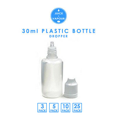 30ml Clear Plastic Dropper Bottle (Pack 3/5/10/25)