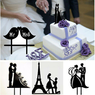 Bride and Groom Cake Topper Acrylic Silhouette Wedding Cake Topper Decor