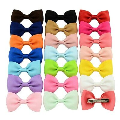 20Pc Girl Baby Kids Hair Bows Band Boutique Alligator Clip Grosgrain Ribbon New