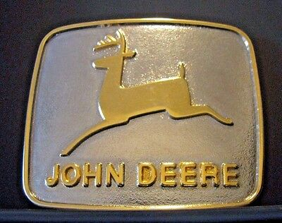 John Deere 1981 Belt Buckle 1968 Leaping Deer Historical Trademark Logo Moline