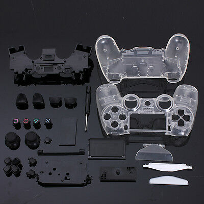 Custom Full Shell Case Clear Housing Mod Kit For PS4 Playstation4 Controller New