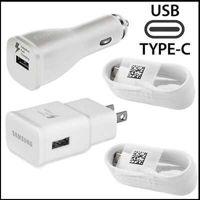 OEM Samsung Galaxy S8/S8Plus Note 8 Fast Charger Wall + Car Plug Type-C Cable