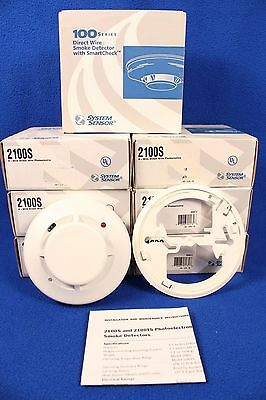 7 New System Sensor 100 Series Direct Wire Smoke Detectors W/smart Check 2100S