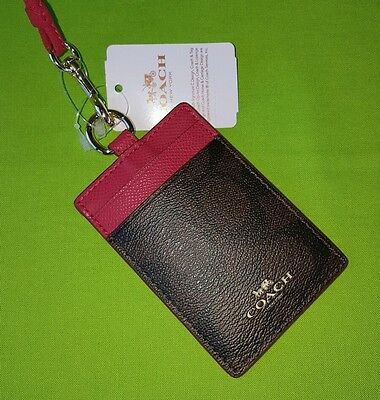 Coach Signature PVC Lanyard ID Badge Holder F63274 in Brown/True Red.