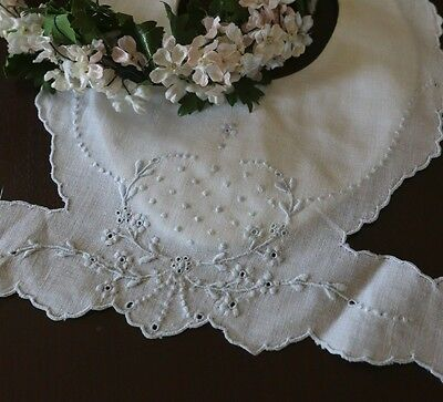 Fine Antique Madeira Baby Bib w/ Blue Embroidery
