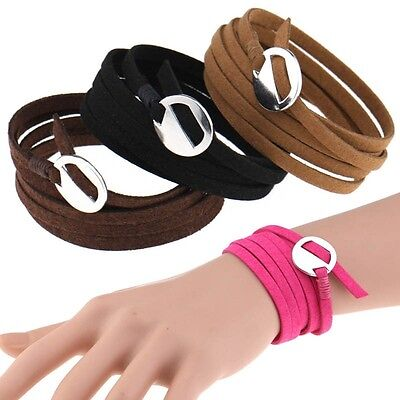 Fashion Leather Wrap Cuff Bracelet Multi Layer Punk Wristband for Women
