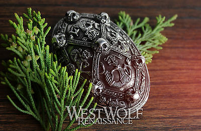 Viking Tortoise Brooch with Stylized Wolves -- Norse/Celtic/Silver/Wolf/Odin/Pin