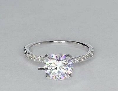 1.55Ct Near White Moissanite Solitaire Engagement Ring 925 Sterling Silver Size6