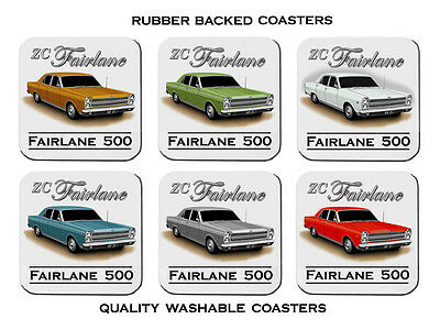 Ford  69'  Zc   Fairlane  500   302  V8     Set Of  6   Rubber Drink  Coasters