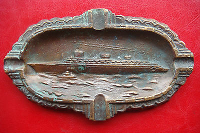 1930 nautical maritime memorabilia antique bronze ashtray paquebot SS Normandie