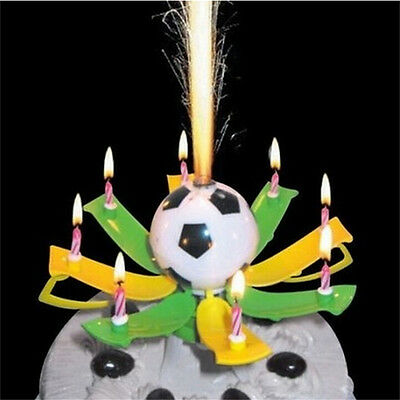 Amazing Musical Rotating Football Soccer Happy Birthday 8 Candles Light FO