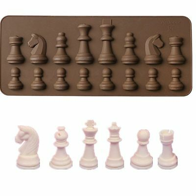 3D Silicone Chess Pieces Chocolate Ice Cube Mould Cake Decor DIY Baking Mold L