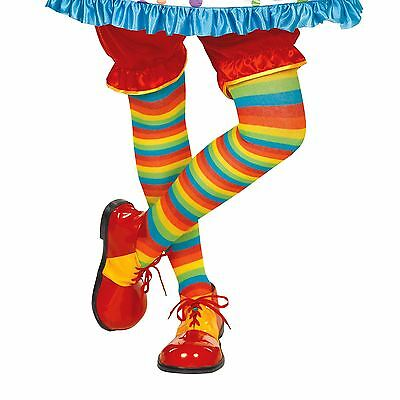 Rainbow Striped Tights Circus Clown Colourful Sock Fancy Dress Costume Accessory