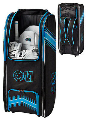 2017 Gunn and Moore Original Black Blue Wheelie Duffle Cricket Bag