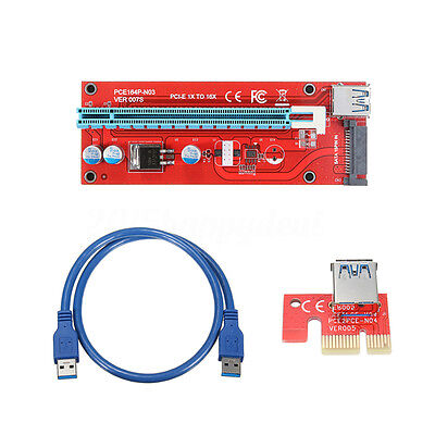 PCI-E 1x to 16x Powered USB 3.0 Extender Riser Adapter Card + Cable for Bitcoin
