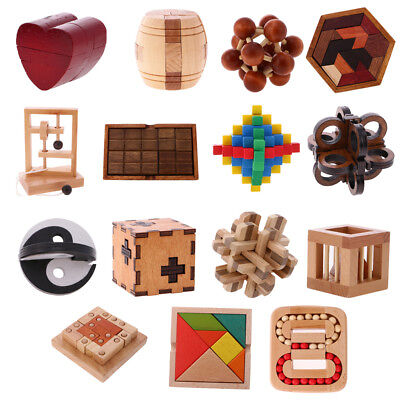 Wood Intelligence Toy Kongming Lock Chinese Brain Teaser Game Toy 3D Puzzle