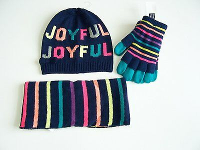 Gap Kids JOYFUL Hat Cap Beanie Mittens Neck Scarf New Navy Stripes S M NWT