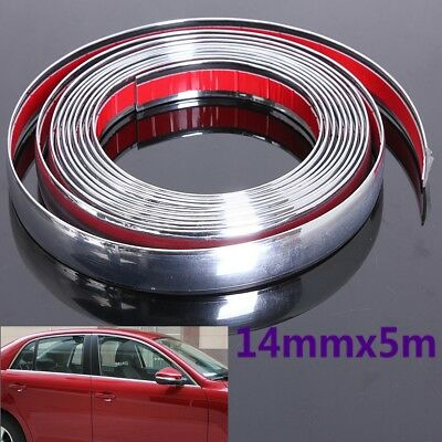 14mm x 5m Car Styling Moulding Strip Trim Adhesive Crash Protecter Decal Chrome