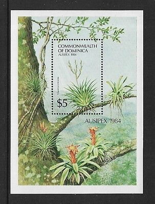 DOMINICA - 1984 Ausipex 84, Flowers, mint mini sheet, MNH MUH