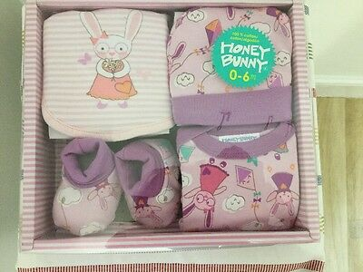 New Baby Girls Hamper Gift Box Present For Newborn Christening Booties Bib Hat