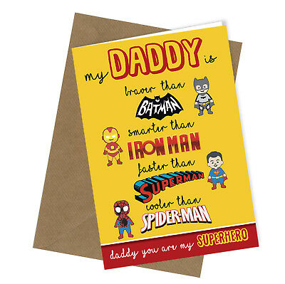 Greetings Card Superhero Comedy Funny Humour Fathers Day or Birthday Daddy #189