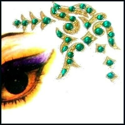 Green + Green Combinations Eye Corner Face or Body Gems  4 Piece Stickers (K)