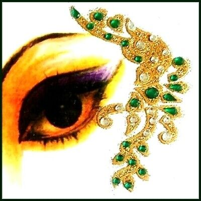 Green  Combinations Eye Corner Face or Body Gems 4 Piece Temporary Tattoos