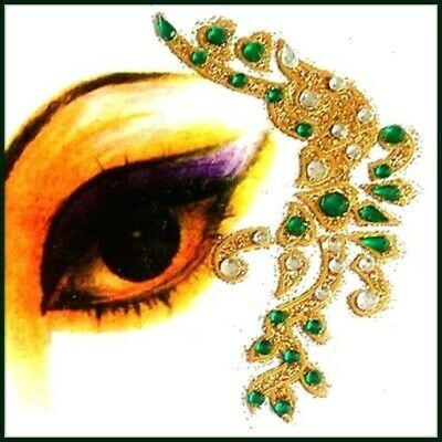 Green + Green Combinations Eye Corner Face or Body Gems 4 Piece Stickers (L)