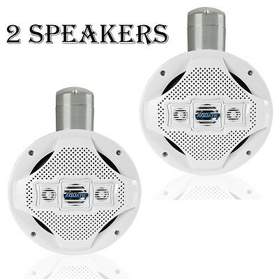 "PAIR-NEW Lanzar AQAWBS8WT 1200W 8"" Bluetooth Marine 4Way Tower Wakeboard Speaker"