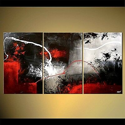 3 Piece Black White Red Modern Abstract Oil Paintings On Canvas Art Room Decor