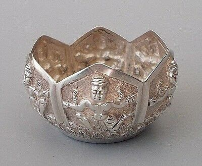 Small antique / vintage Indian solid silver repousse bowl