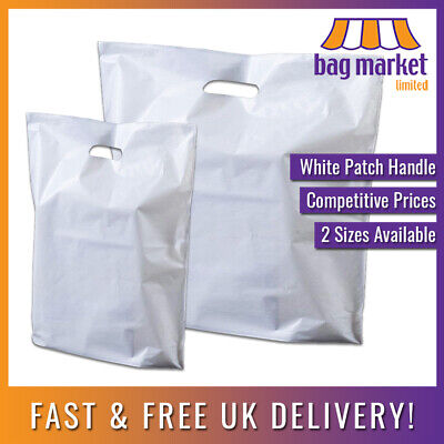 Strong White Patch Handle Carrier Bags!! | Fashion/Gift/Shopping/Retail/Boutique