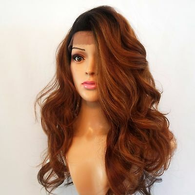 Synthetic Lace Front Wavy Dark Roots/Auburn Ombre Wig 18""