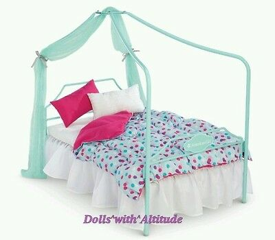 NEW American Girl Truly Me Canopy Bed and Bedding for Doll Pink Blue