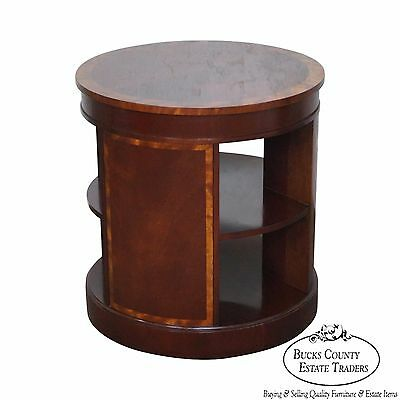 Baker Furniture Round Mahogany 2 Tier Drum Table