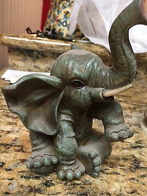 "Vintage 6"" Ceramic Elephant Figurine with Trunk Up for Good Luck"