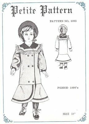 Period DOLL DRESS PATTERN Victorian German French ANTIQUE / vintage look #5003