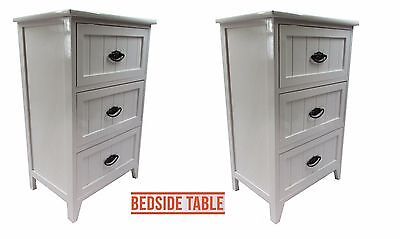 Set of 2 White Gloss Wooden Small 3 Drawer Bedside Table/Cabinet Storage Unit