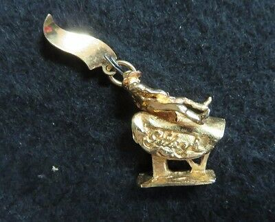 VINTAGE Gilley's Pasadena, Tx GOLD-PLATED CHARM Riding Bull  *RARE*