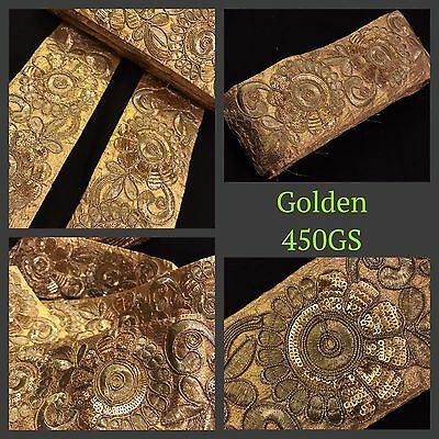 1 Yard Fancy Gold Embroidery Trim Saree Sequin Tissue Crafting Border Sew on