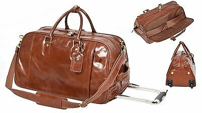 TAN Leather Wheeled holdall Duffle Gym Cabin Travel Hand Luggage Weekend Bag NEW
