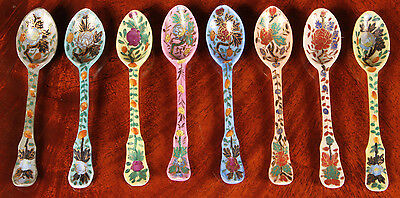Collection Of 8 Hand Painted And Gilded Porcelain Spoons