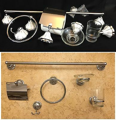 Sanitary Ware, Wall Mounted Chrome/Porcelain 6 Piece Set Bathroom Accessories