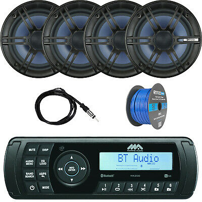 Clarion Marine Stereo w/Boss 180W Speakers, Enrock Antenna and Speaker Wire